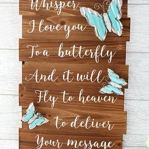 Wooden Butterfly Memorial Sign Home Decor Plaque